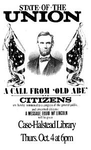 Abraham Lincoln visits Case-Halstead Library!  Thurs. Oct. 4 at 6pm!  Tickets (free) but required! @ Case-Halstead Library